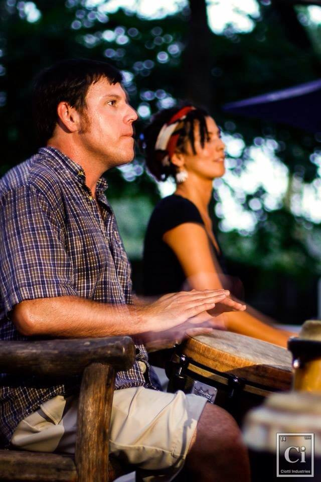 photo of Charleston SC native Seth Mason playing at a drum circle