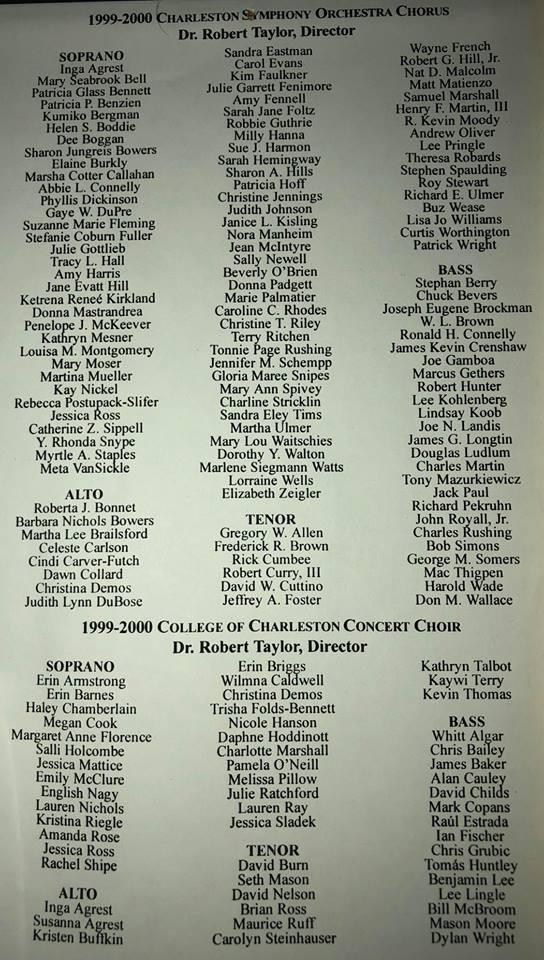 playbill from Seth Mason's performance with the College of Charleston choir